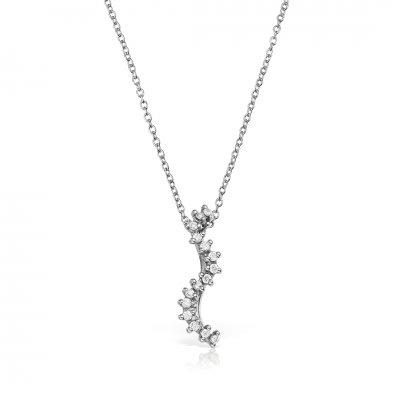Colier din aur alb 18k cu diamante