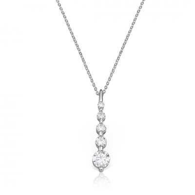 Colier din aur alb cu diamante