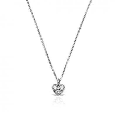 Colier heart shaped cu diamante