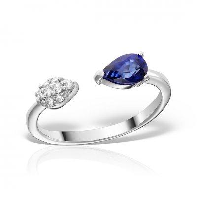 Inel Aur  14k Cu Diamante Si Safir