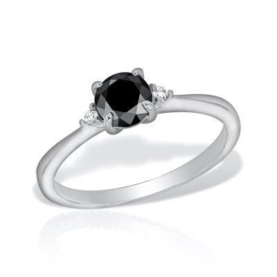 Inel Aur Alb Cu Diamant Negru