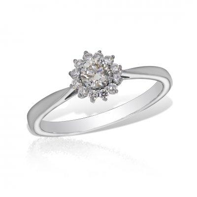 Inel aur alb cu diamante
