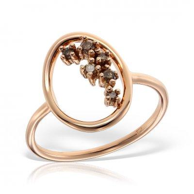 Inel aur roz cu diamante brown