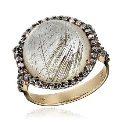 Inel cu diamante colorate si cuart cu rutil