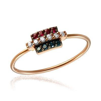 Inel cu diamante colorate si rubine
