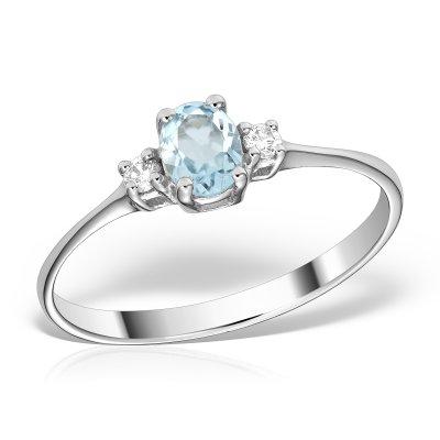 Inel Cu Diamante Si Aquamarine