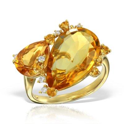 Inel Cu Diamante Si Citrine