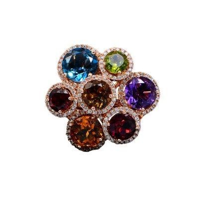 Inel cu diamante si pietre multicolore