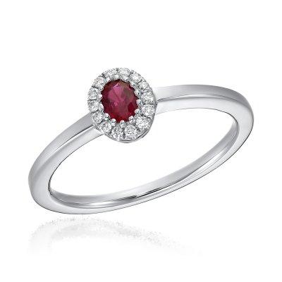 Inel cu diamante si rubin