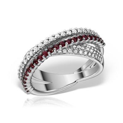 Inel cu diamante si rubine