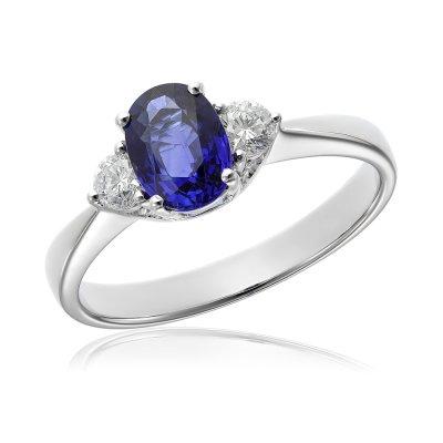 Inel cu diamante si safir