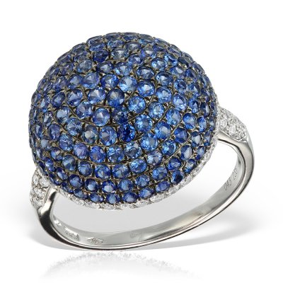 Inel cu diamante si safire