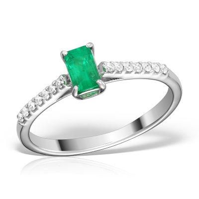 Inel Cu Diamante Si Smarald