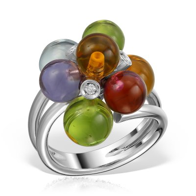 Inel Cu Pietre Multicolore Si Diamante 18k