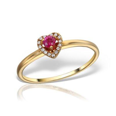 Inel Cu Rubin Si Diamante