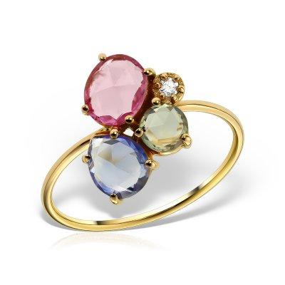 Inel cu safire colorate si diamant