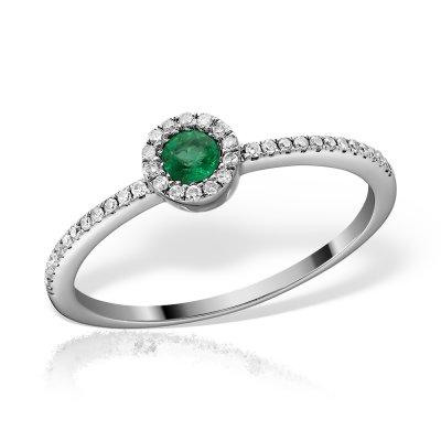 Inel cu smarald si diamante