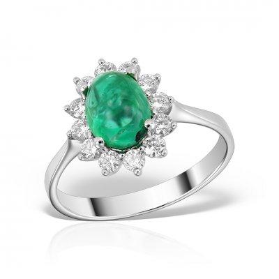 Inel de logodna anturaj cu smarald cabochon