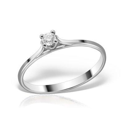 Inel de logodna aur alb cu diamant