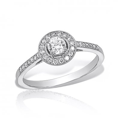 Inel de logodna aur alb cu diamante