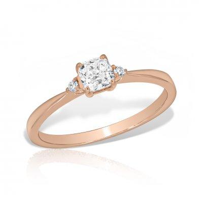 Inel de logodna aur roz cu diamant