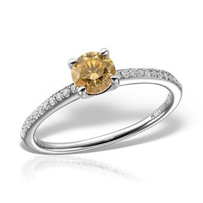 Inel de logodna cu diamant colorat