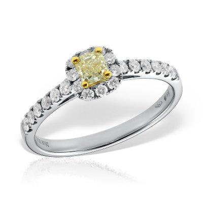 Inel de logodna cu diamant galben