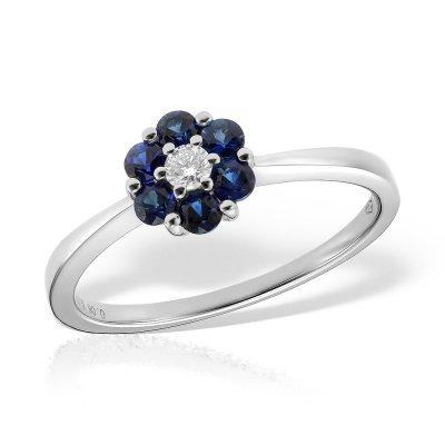 Inel de logodna cu diamant si safire