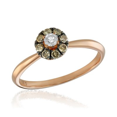 Inel de logodna cu diamante colorate