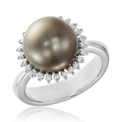 Inel De Logodna Cu Diamante Si Perla