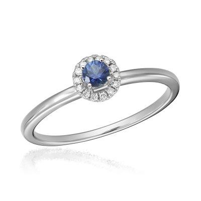 Inel de logodna cu diamante si safir