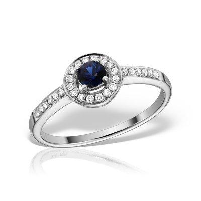 Inel de logodna cu diamante si safire
