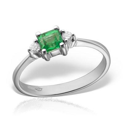 Inel de logodna cu diamante si smarald