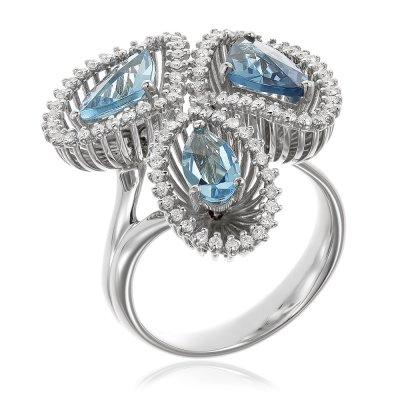 Inel De Logodna Cu Diamante Si Topaze Bleu