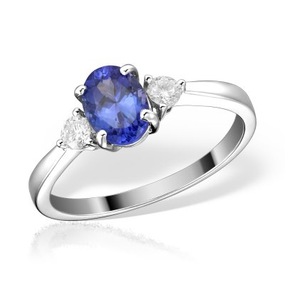 Inel de logodna cu tanzanit si diamante