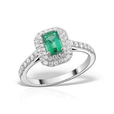 Inel de logodna din aur alb 18k cu smarald si diamante