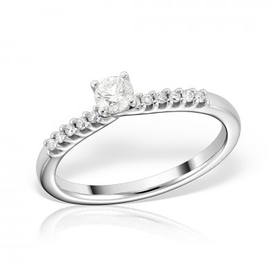 Inel de logodna din aur alb cu diamant rotund