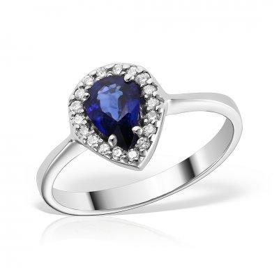 Inel de logodna din aur alb cu safir si diamante