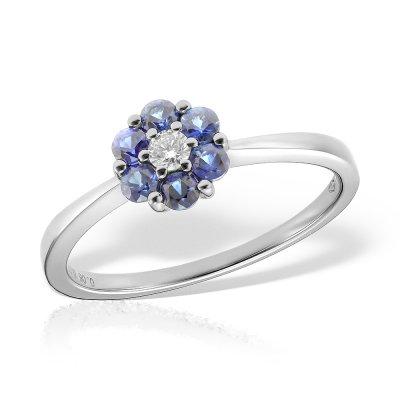 Inel de logodna din aur alb cu safire si diamant