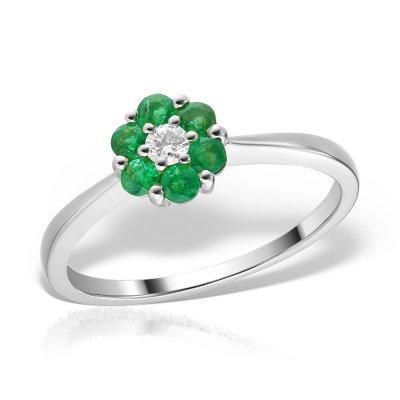 Inel de logodna din aur alb cu smaralde si diamant