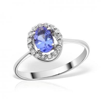 Inel de logodna din aur alb cu tanzanit si diamante