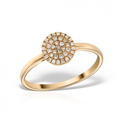 Inel de logodna din aur roz 18k cu diamante brown