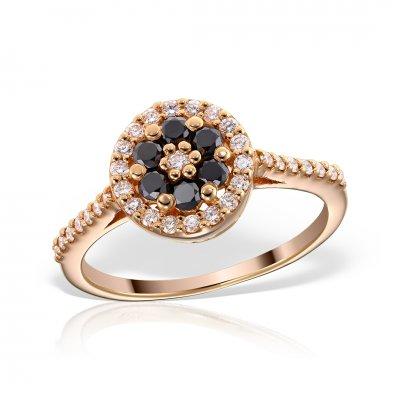 Inel de logodna din aur roz 18k cu diamante