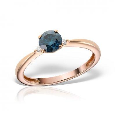 Inel de logodna din aur roz cu diamant albastru