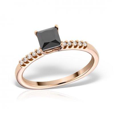 Inel de logodna din aur roz cu diamant negru princess cut