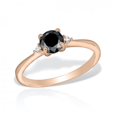 Inel De Logodna Din Aur Roz Cu Diamant Negru
