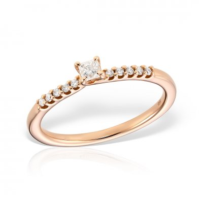 Inel De Logodna Din Aur Roz Cu Diamant Princess