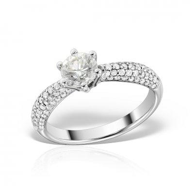 Inel din aur alb 18k cu diamante
