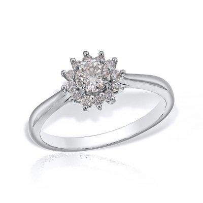 Inel din aur alb cu diamante