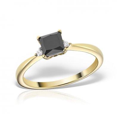Inel Din Aur Galben Cu Diamant Negru